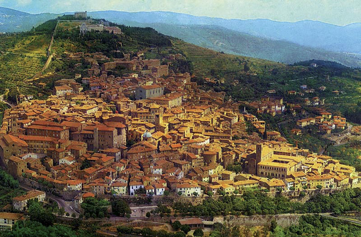 Aerial View of the City of Cortona, Italy