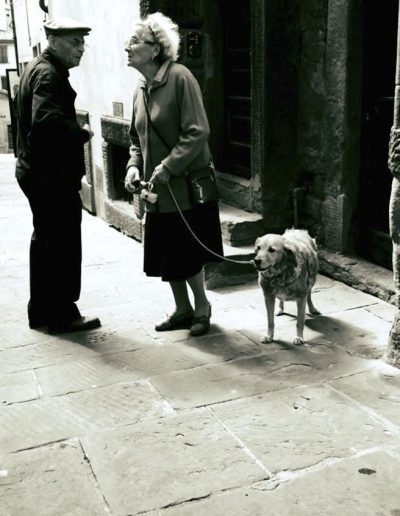 Cortona People with Dog by Sara Leikin Tuscany Italy