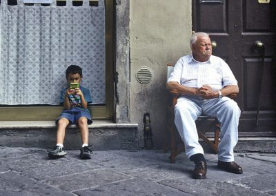 Man and Boy Cortona Italy by Eva Fernandez